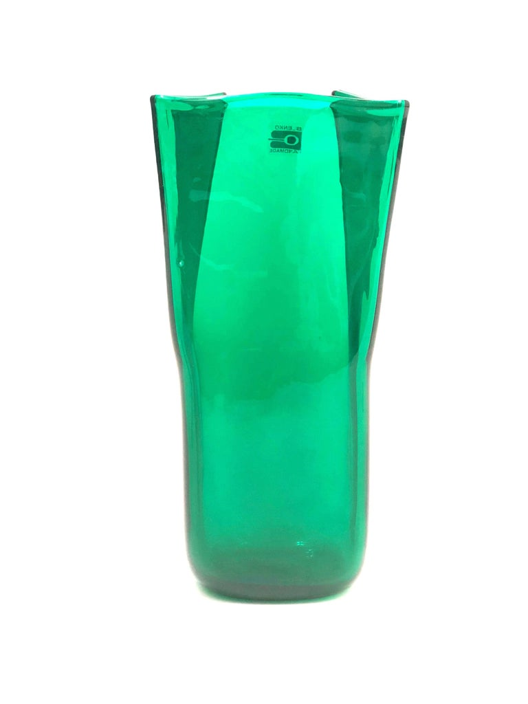 An elegant midcentury green folded glass vase by Don Shepherd for Blenko.