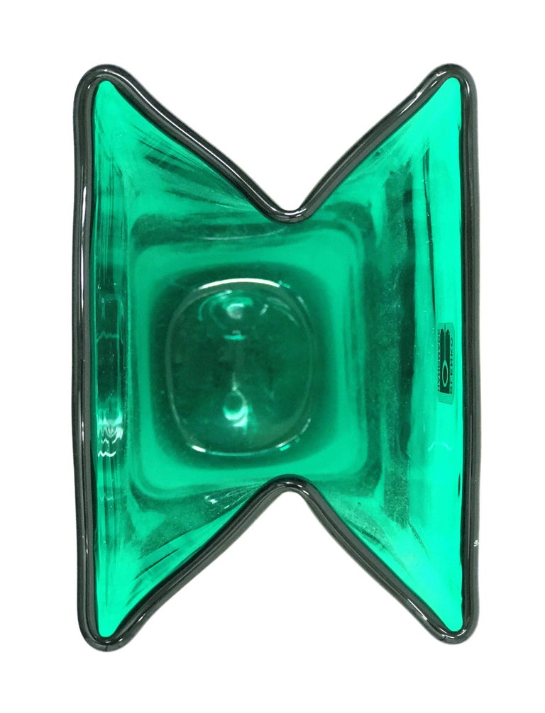 Mid-Century Modern Midcentury Green Folded Glass Vase by Don Shepherd for Blenko For Sale