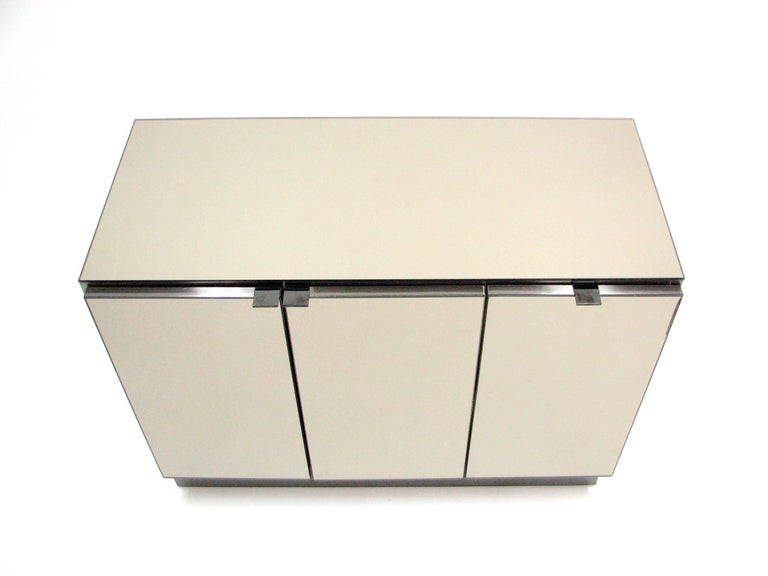 Ello Lightly Smoked Mirror and Brushed Chrome 3-Door Credenza 2