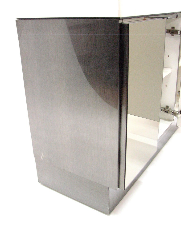 Ello Lightly Smoked Mirror and Brushed Chrome 3-Door Credenza In Good Condition For Sale In Portland, OR