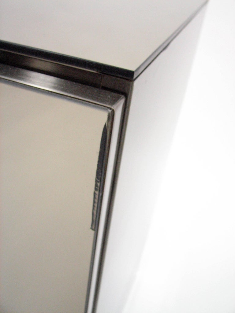 Ello Lightly Smoked Mirror and Brushed Chrome 3-Door Credenza For Sale 1
