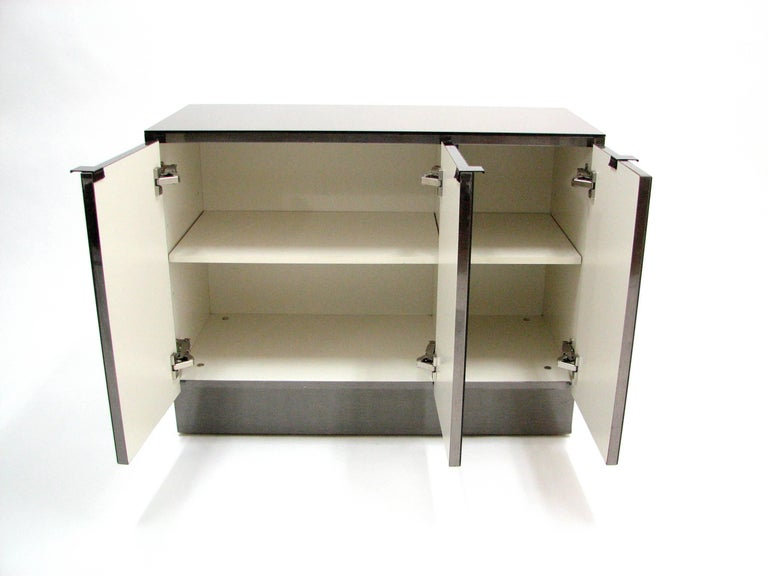Ello Lightly Smoked Mirror and Brushed Chrome 3-Door Credenza 4