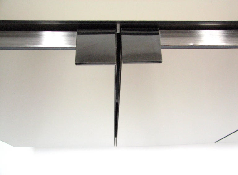 Mid-Century Modern Ello Lightly Smoked Mirror and Brushed Chrome 3-Door Credenza For Sale