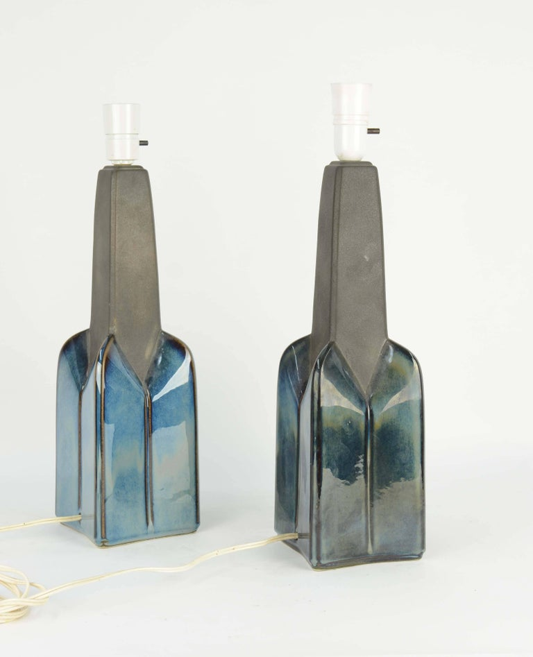 Pair of Soholm Stentoj of Denmark Ceramic Lamps by Einar Johansen In Good Condition For Sale In Portland, OR