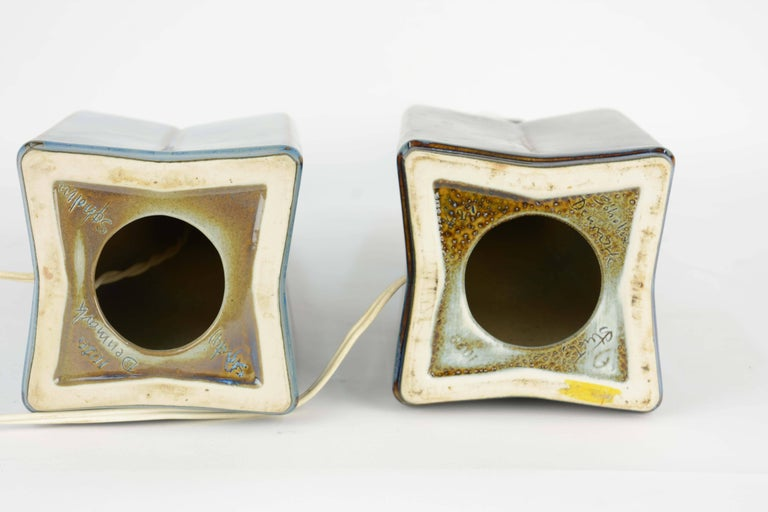 Mid-20th Century Pair of Soholm Stentoj of Denmark Ceramic Lamps by Einar Johansen For Sale