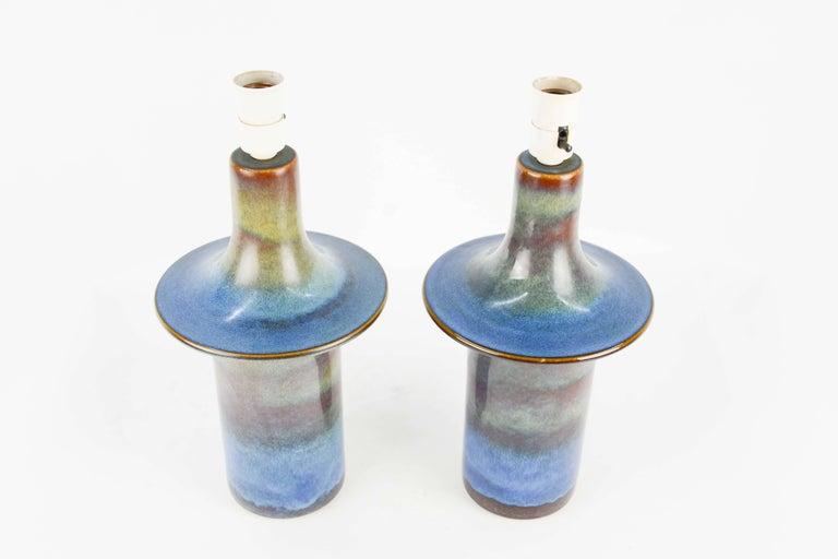 Danish Pair of Einar Johansen's UFO Ceramic Lamps for Soholm Stentj of Denmark For Sale