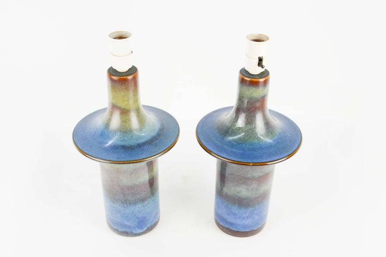 Scandinavian Modern Pair of Einar Johansen's UFO Ceramic Lamps for Soholm Stentj of Denmark For Sale