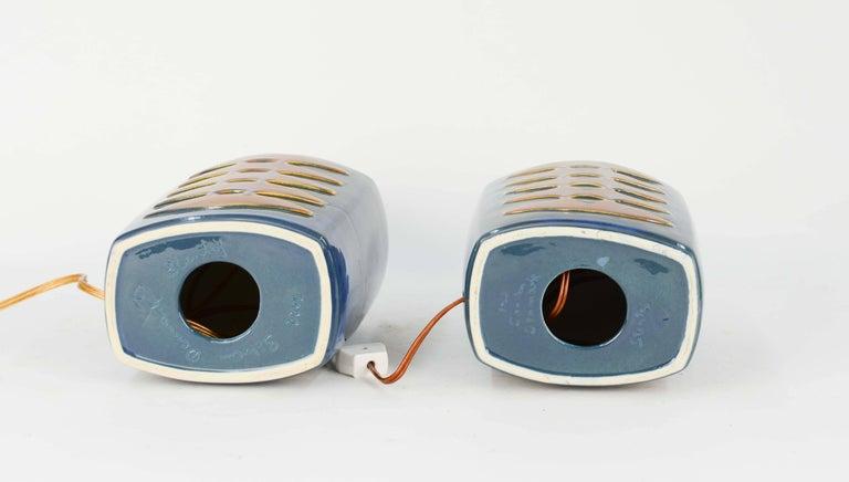 Mid-20th Century Pair of Einar Johansen Ceramic Table Lamps for Soholm Stentj of Denmark For Sale