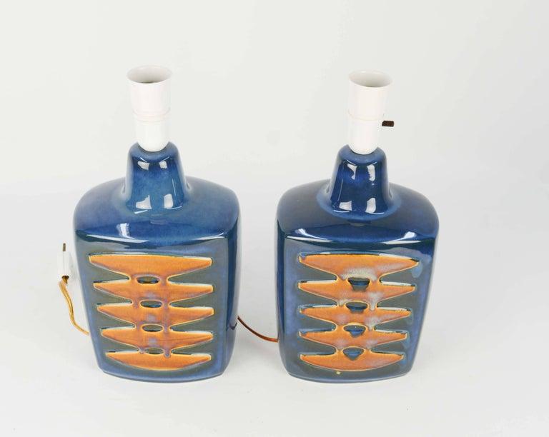 Danish Pair of Einar Johansen Ceramic Table Lamps for Soholm Stentj of Denmark For Sale