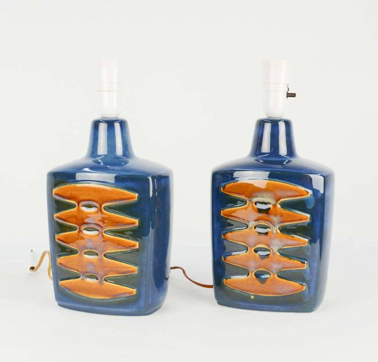 Scandinavian Modern Pair of Einar Johansen Ceramic Table Lamps for Soholm Stentj of Denmark For Sale
