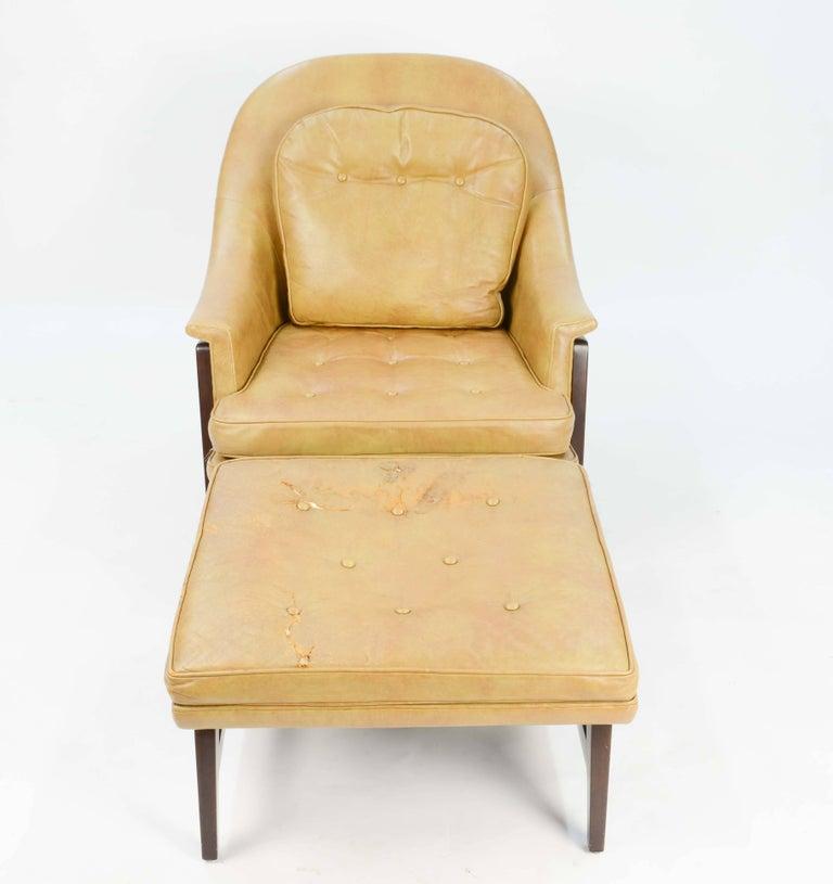 Mid-Century Modern Edward Wormley's Signature Janus Group Club Chair and Ottoman for Dunbar For Sale