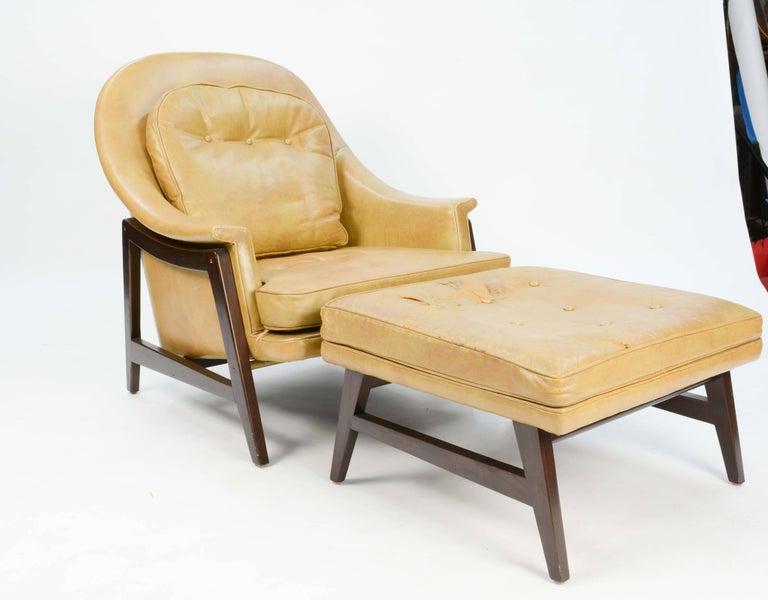 Mahogany Edward Wormley's Signature Janus Group Club Chair and Ottoman for Dunbar For Sale