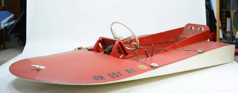 1960s hand built sea flea Hydroplane speed boat. An incredible speed boat with all the midcentury speed design qualities. These boats were the pre Jet Ski craze of the 1960s