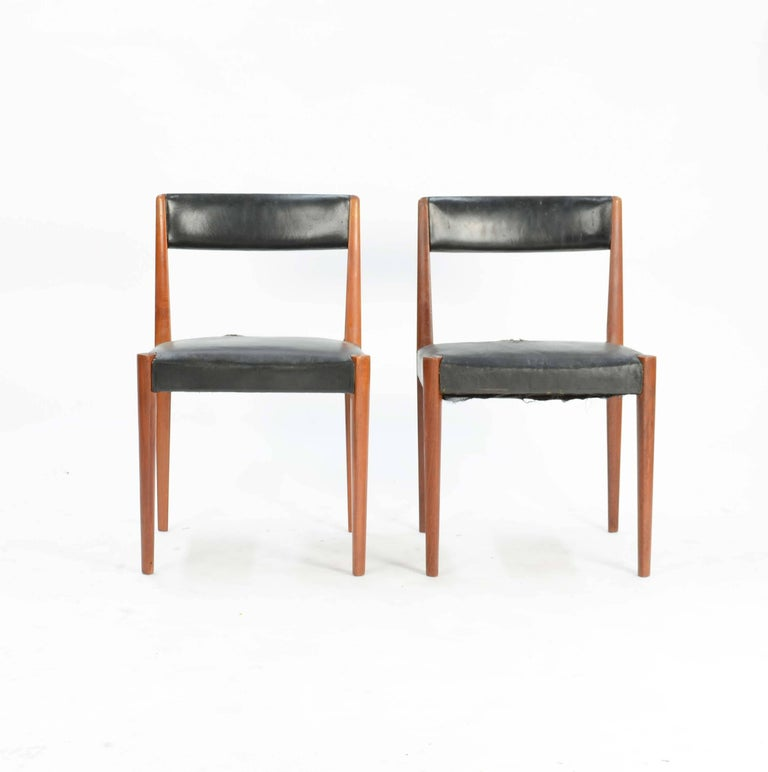 Scandinavian Modern Set of Six Aage Schmidt Christensen for Fritz Hansen Dining Chairs For Sale