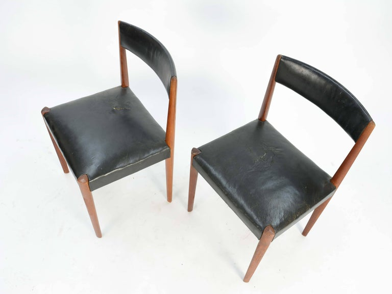 Set of Six Aage Schmidt Christensen for Fritz Hansen Dining Chairs In Good Condition For Sale In Portland, OR