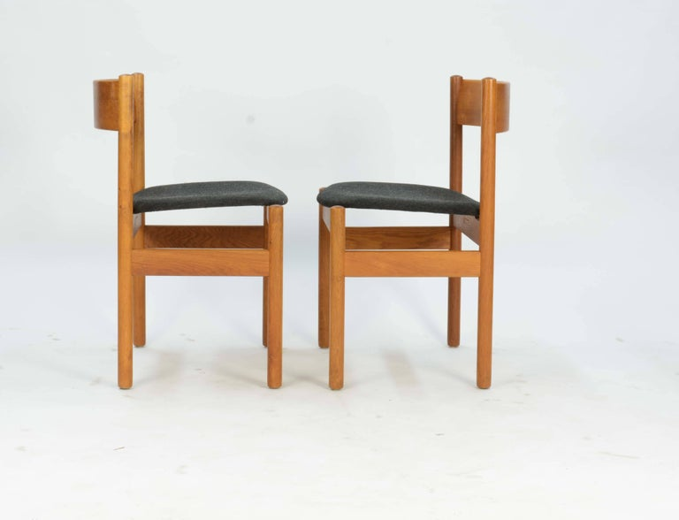 Danish Set of Four FDB Mobler Floating Seat Dining Chairs after Borge Mogensen For Sale
