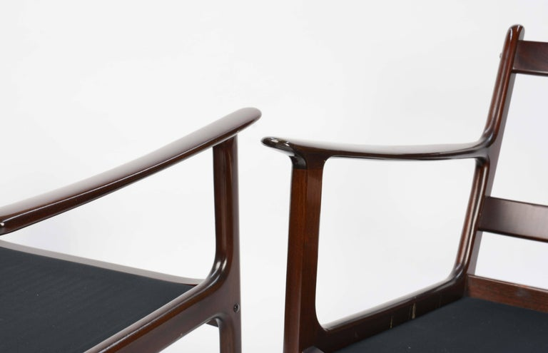 Mahogany Pair of Ole Wanscher's Club Chair JP112 for P. Jeppesens Møbelfabrik of Denmark For Sale