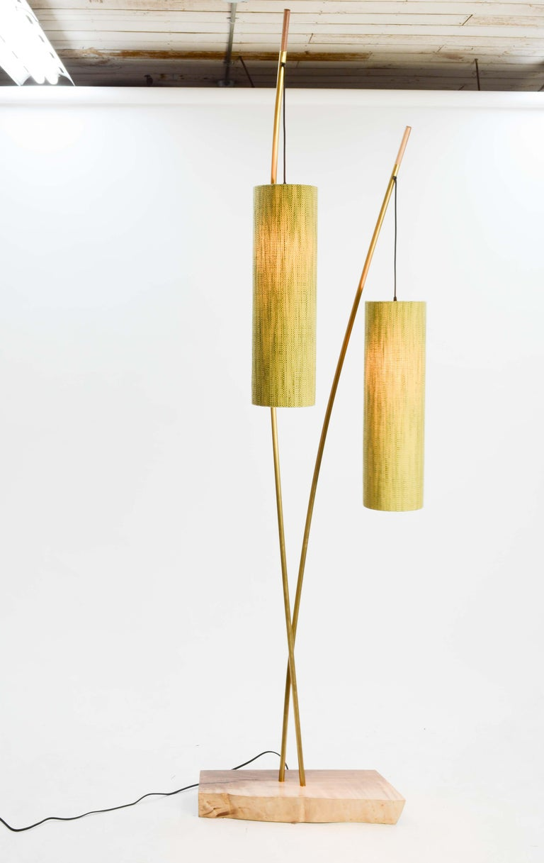A stunning floor lamp by lighting artisan Jamie Violette of the Oregon wine country. This light is variable in it's width and the upright copper stem can rotate inward and outward to 180 degree range. This lamp brings the elements of nature inside