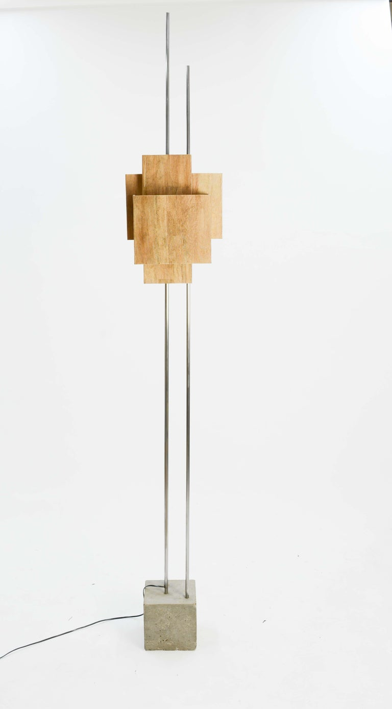 Mid-Century Modern Frank Lloyd Wright Inspired Floor Lamp by Lighting Artisan Jamie Voilette For Sale