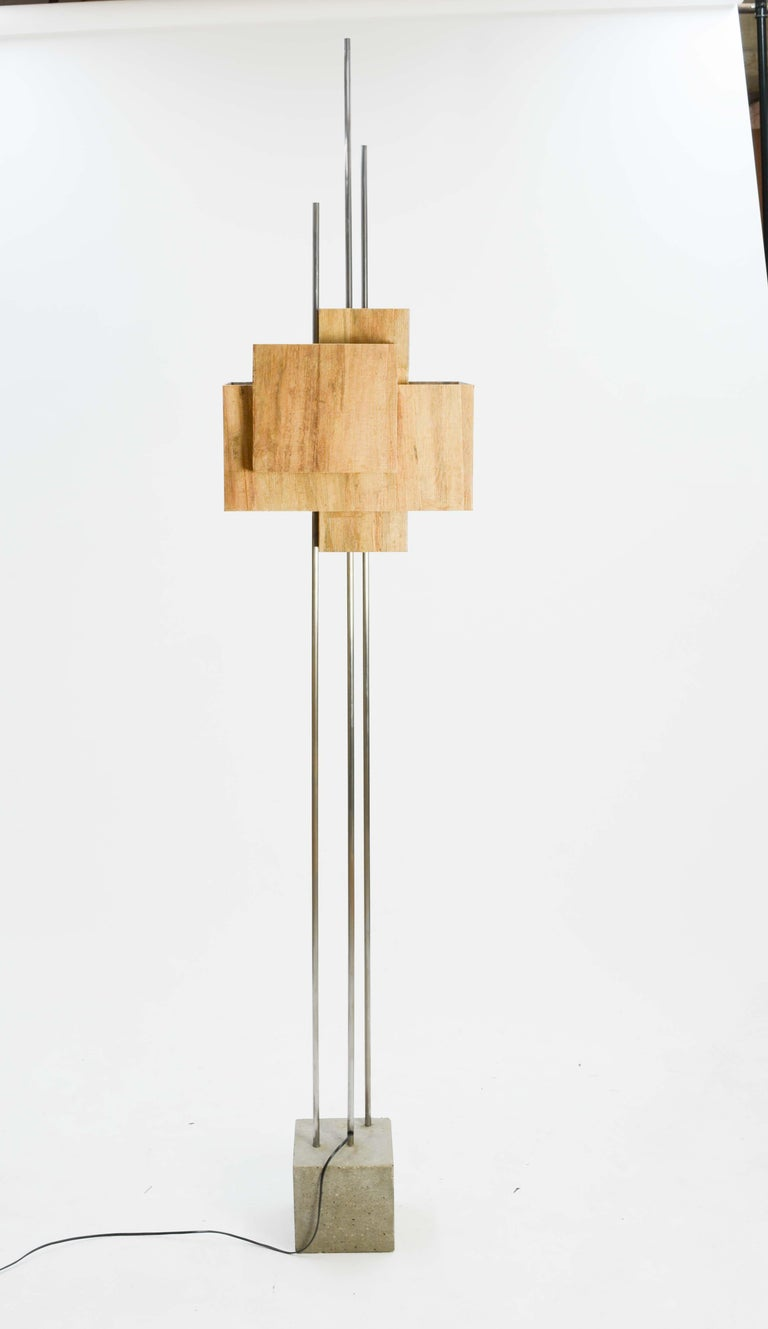 American Frank Lloyd Wright Inspired Floor Lamp by Lighting Artisan Jamie Voilette For Sale