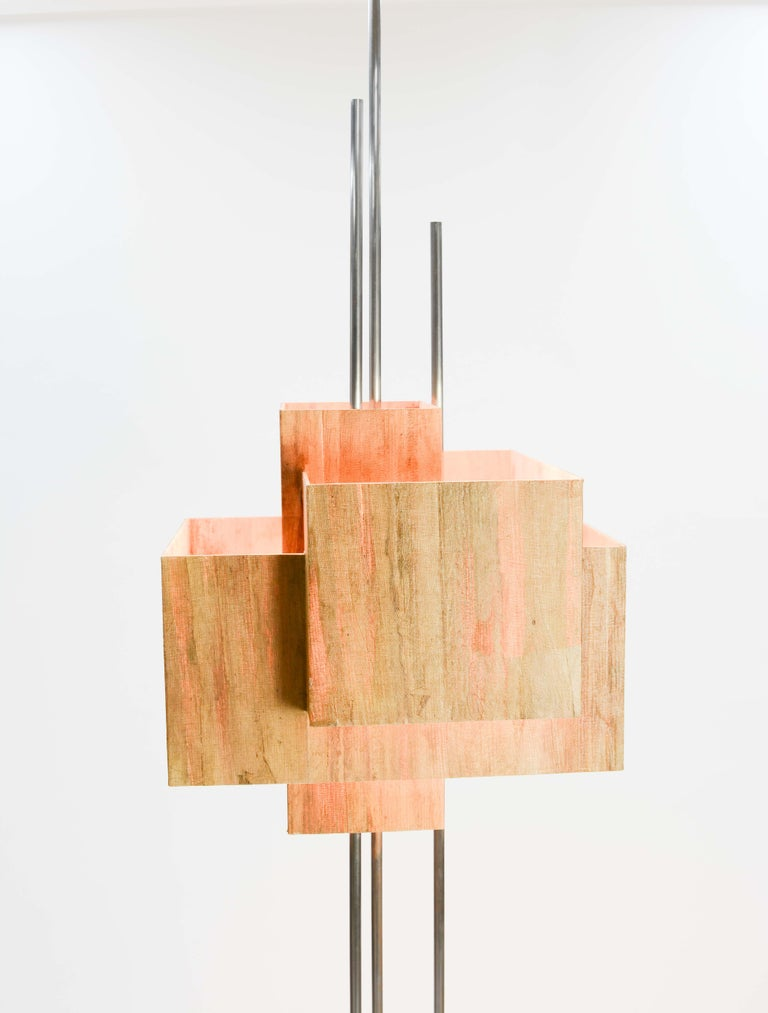 Contemporary Frank Lloyd Wright Inspired Floor Lamp by Lighting Artisan Jamie Voilette For Sale