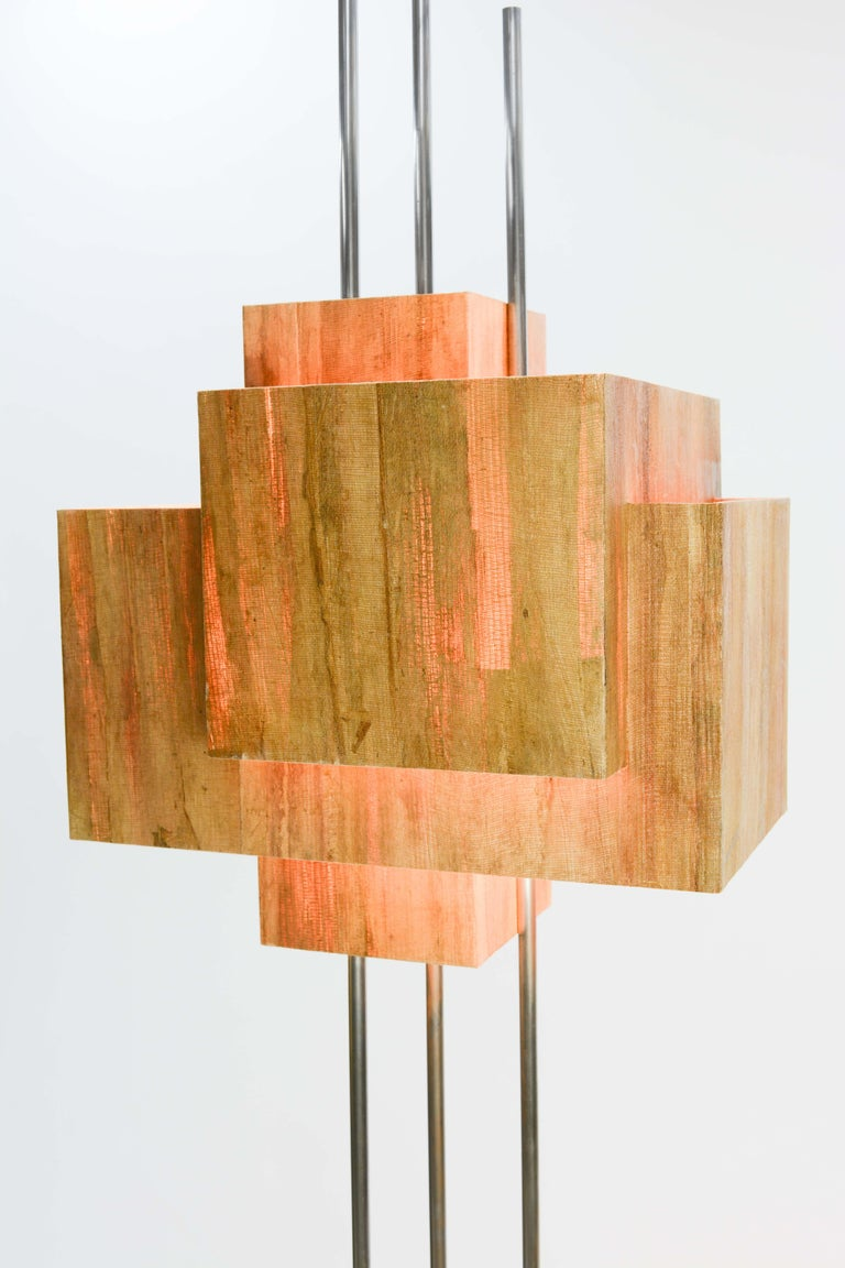Frank Lloyd Wright Inspired Floor Lamp by Lighting Artisan Jamie Voilette For Sale 2