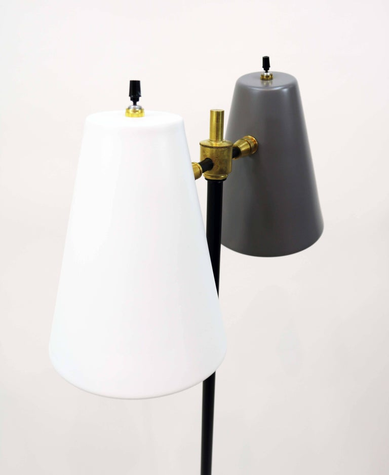Painted Midcentury Double Cone Floor Lamp For Sale