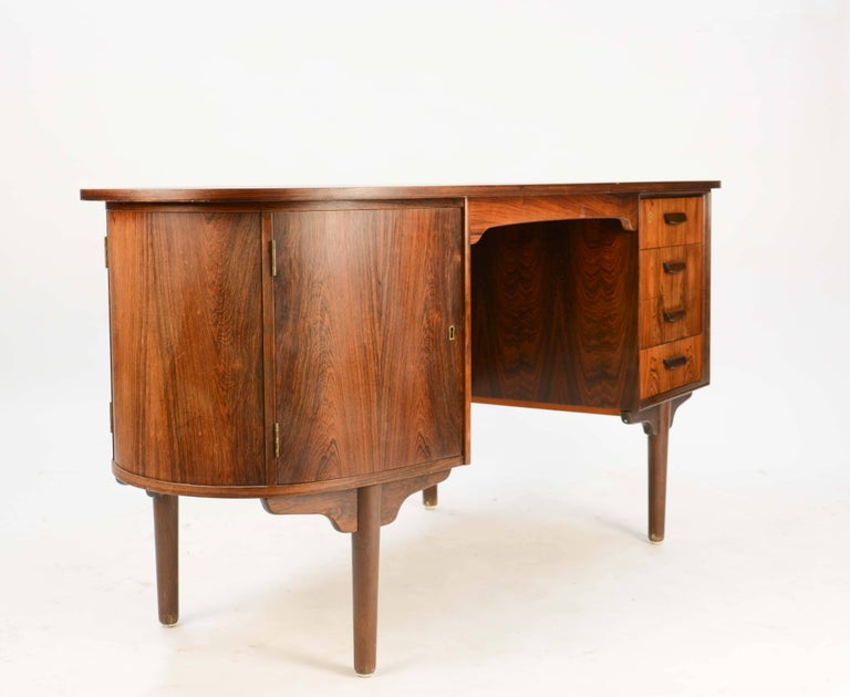 Scandinavian Modern Magnificent and Sensual Kai Kristensen Rosewood Executive Desk from Denmark For Sale