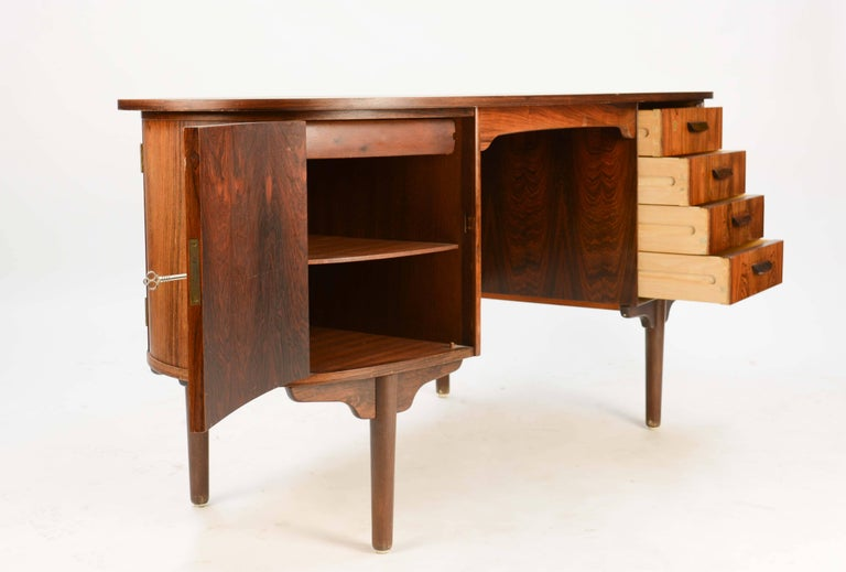 Danish Magnificent and Sensual Kai Kristensen Rosewood Executive Desk from Denmark For Sale