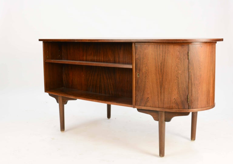 Magnificent and Sensual Kai Kristensen Rosewood Executive Desk from Denmark In Good Condition For Sale In Portland, OR