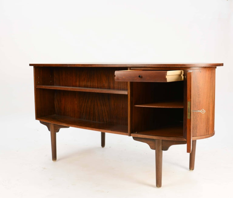 Mid-20th Century Magnificent and Sensual Kai Kristensen Rosewood Executive Desk from Denmark For Sale