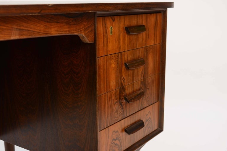 Magnificent and Sensual Kai Kristensen Rosewood Executive Desk from Denmark For Sale 2