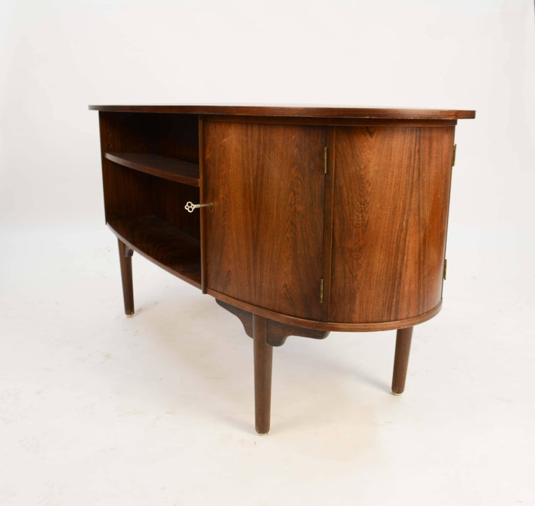 Magnificent and Sensual Kai Kristensen Rosewood Executive Desk from Denmark For Sale 3