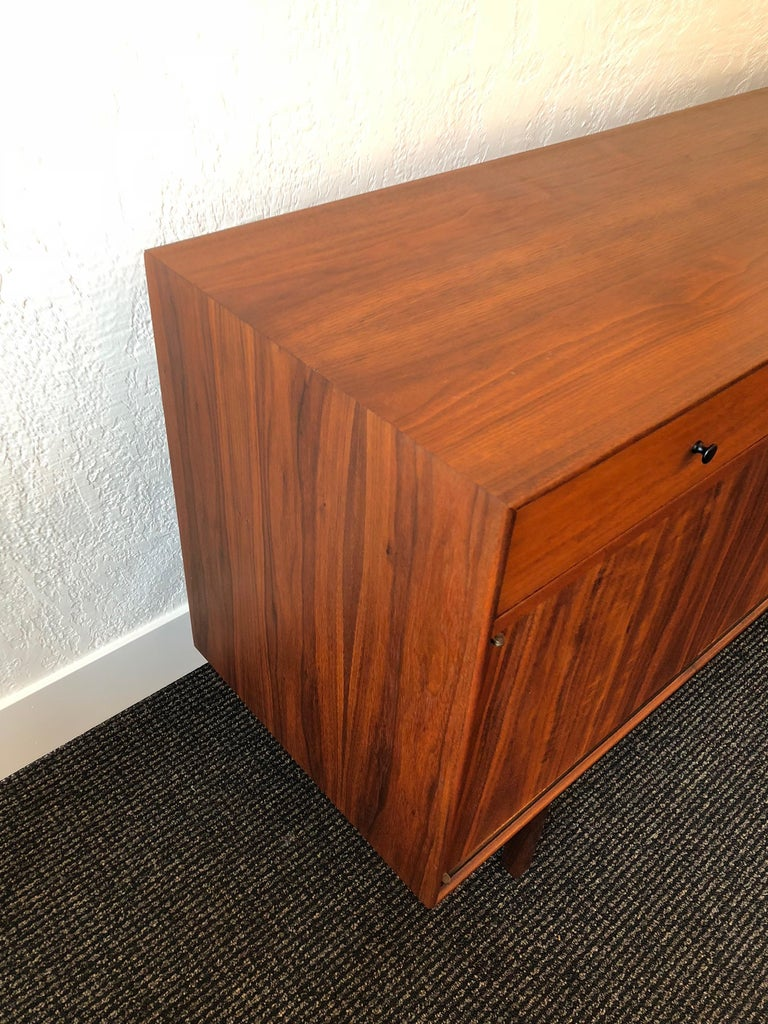 Leather Milo Baughman for Arch Gordon Walnut and Rosewood Credenza For Sale