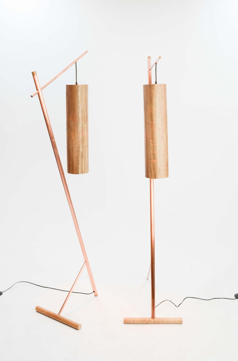 Mid-Century Modern Pair of Iconic Custom Floor Lamps by Artisan James Violette For Sale