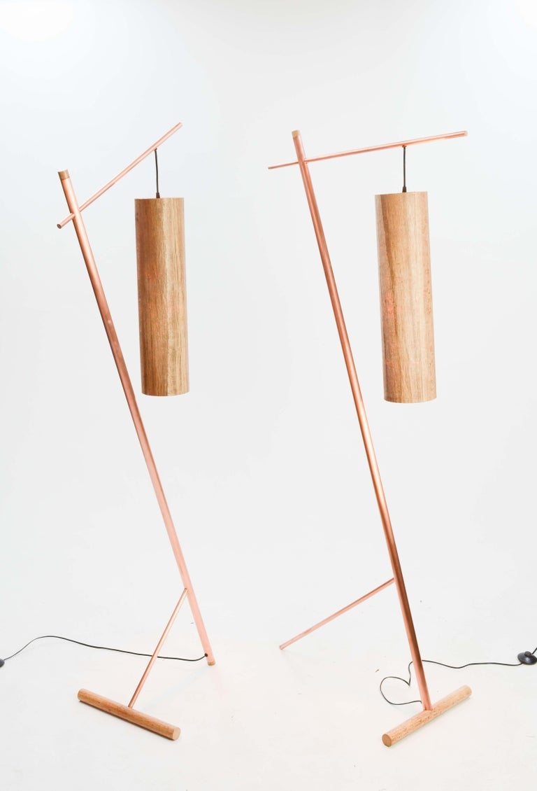 American Pair of Iconic Custom Floor Lamps by Artisan James Violette For Sale