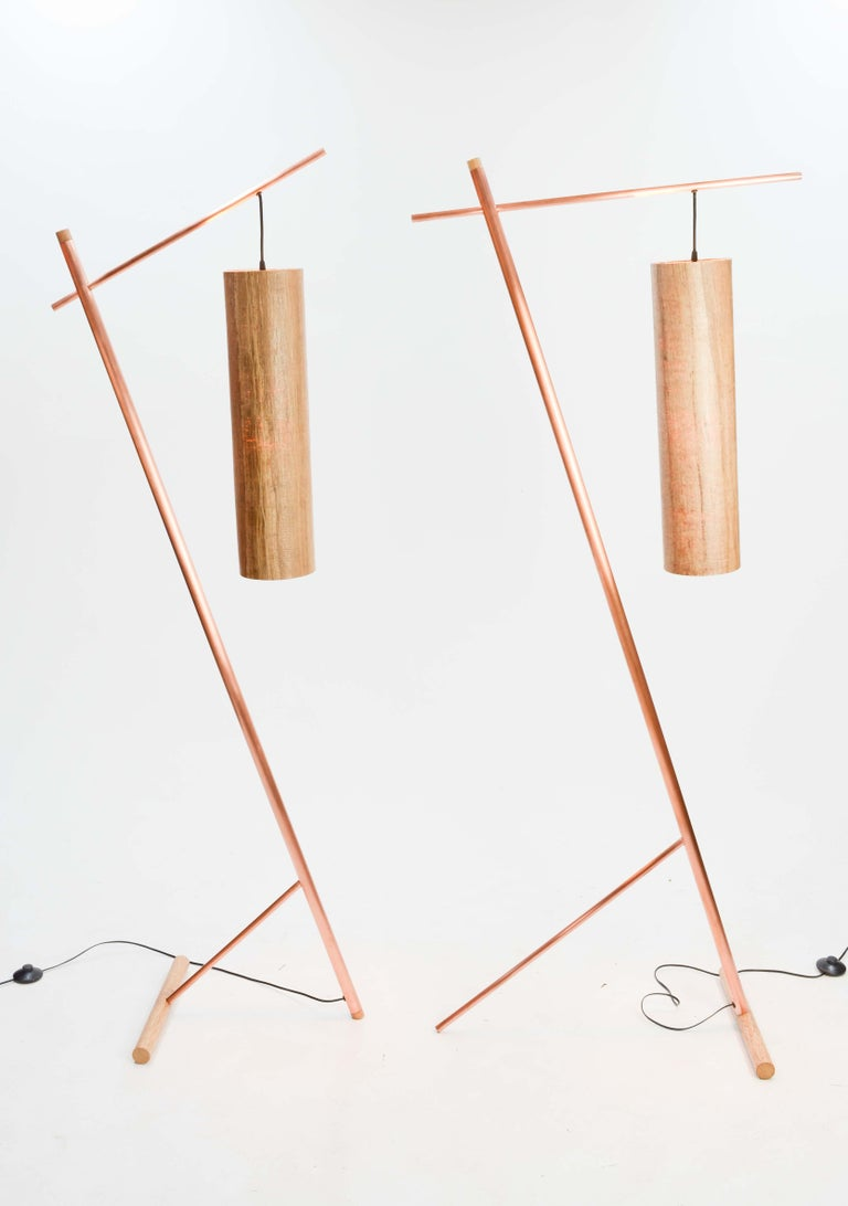 Pair of Iconic Custom Floor Lamps by Artisan James Violette In Excellent Condition For Sale In Portland, OR