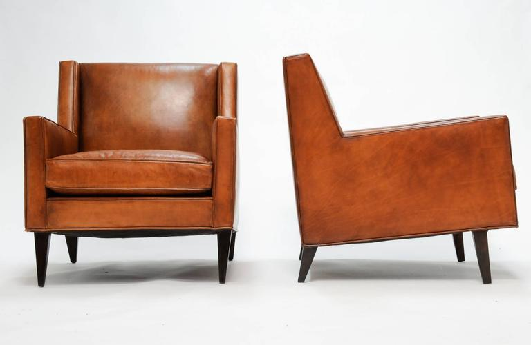 Mid-Century Modern Stylish and Comfortable Pair of Edward Wormley for Dunbar Leather Club Chairs & Stylish and Comfortable Pair of Edward Wormley for Dunbar Leather ...