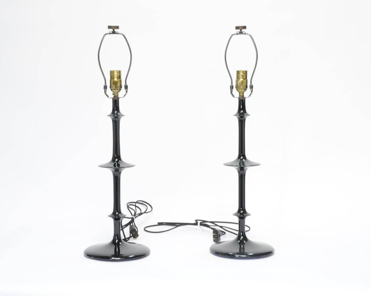 pair of spiral black lacquer lamps at 1stdibs