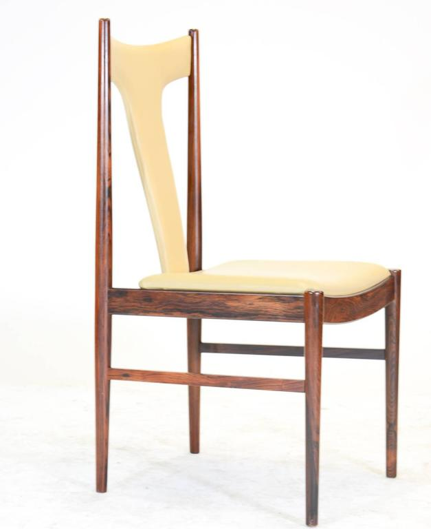 Scandinavian Modern Six Rosewood Dining Chairs in Leather by Arne Vodder for Sibast of Denmark For Sale