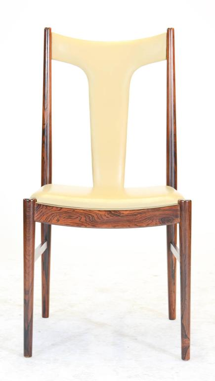 Six Rosewood Dining Chairs in Leather by Arne Vodder for Sibast of Denmark 4