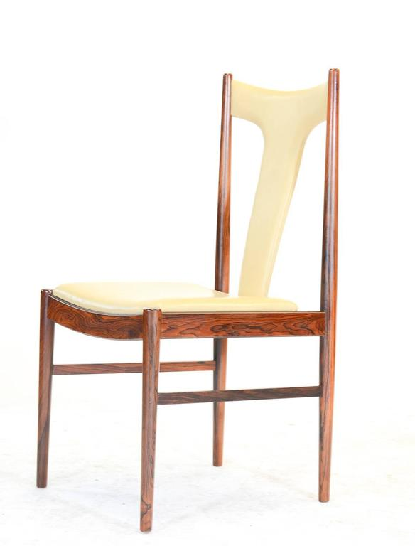 Six Rosewood Dining Chairs in Leather by Arne Vodder for Sibast of Denmark 5