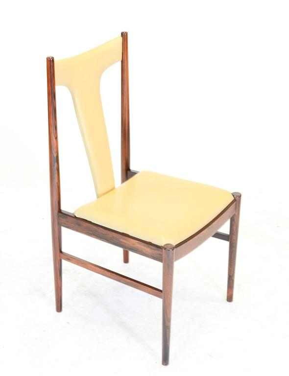 Mid-20th Century Six Rosewood Dining Chairs in Leather by Arne Vodder for Sibast of Denmark For Sale