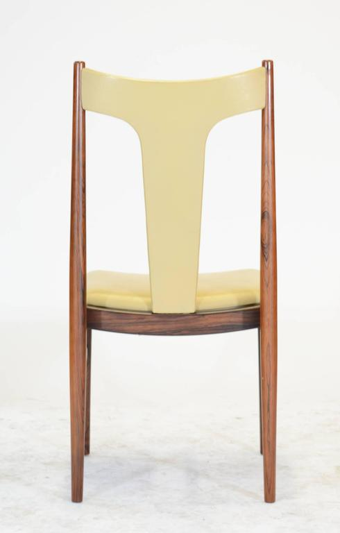 Six Rosewood Dining Chairs in Leather by Arne Vodder for Sibast of Denmark For Sale 1