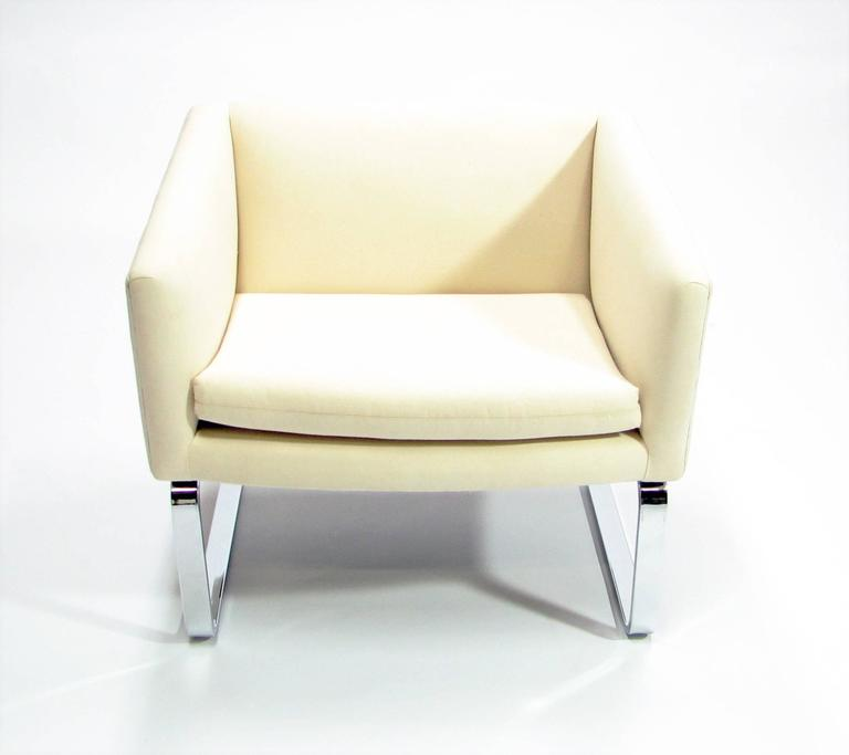 American Sculptural Pair of Mid-Century Club Chairs with Chrome Bases and New Fabric For Sale