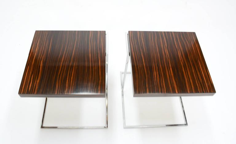Pair of Stunning Zebra Wood and Chrome Cantilever Side Tables 3