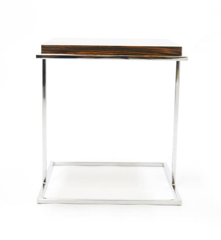 Pair of Stunning Zebra Wood and Chrome Cantilever Side Tables 4