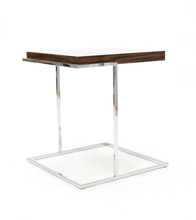 Pair of Stunning Zebra Wood and Chrome Cantilever Side Tables 5