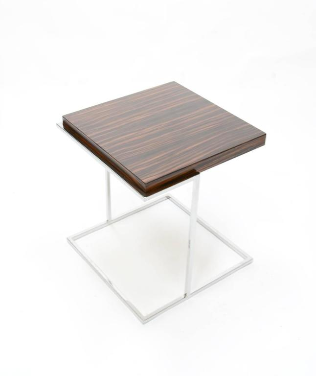 Pair of Stunning Zebra Wood and Chrome Cantilever Side Tables 6