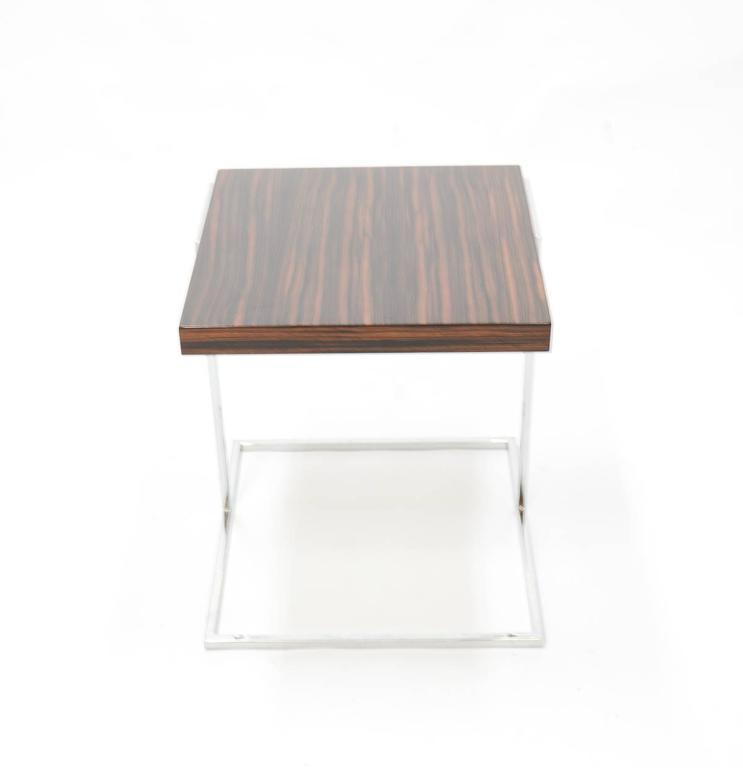 Pair of Stunning Zebra Wood and Chrome Cantilever Side Tables 7